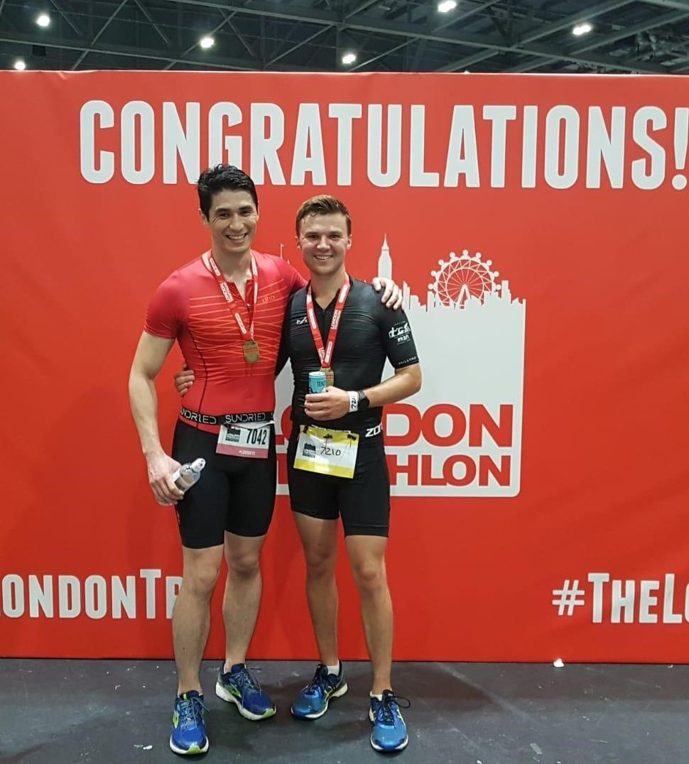 two WellBoring fundraisers celebrating completing a triathlon